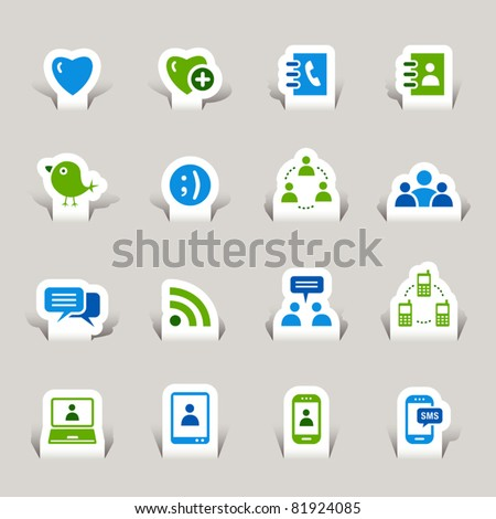 Paper cut - Social media icons - stock vector