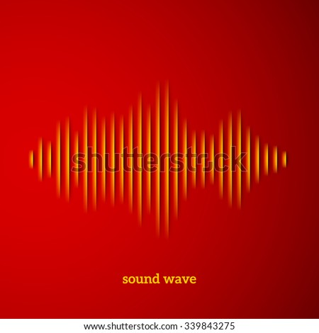 Paper cut sound waveform sign with shadow - stock vector