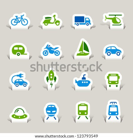 Paper Cut - Transportation icons - stock vector