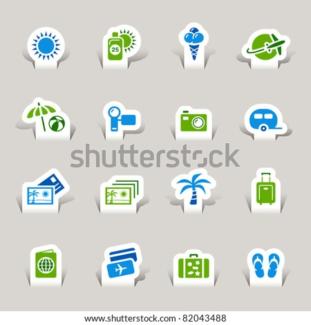 Paper cut - Vacation icons - stock vector