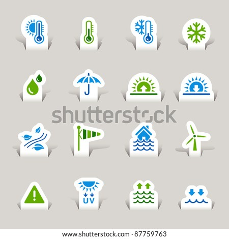 Paper Cut - Weather Icons - stock vector