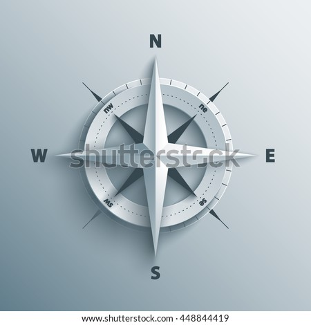 Paper Cutout compass with shade in 3d and origami style. Vector illustration. - stock vector