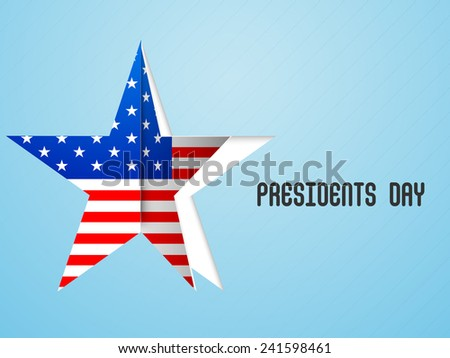 Paper cutout sticky in star shape with United State of American flag for Presidents Day celebration on shiny sky blue background. - stock vector