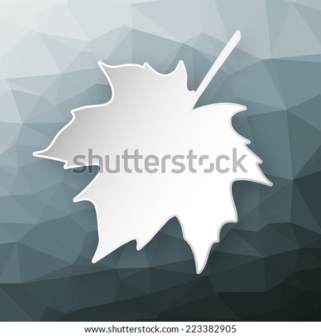 Paper 3d maple leaf over abstract geometric triangular background. - stock vector