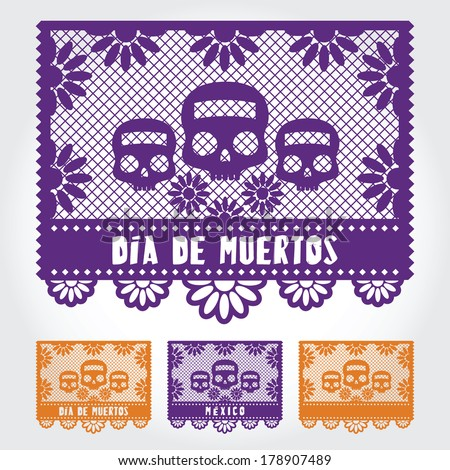 Paper Day of the Dead - stock vector
