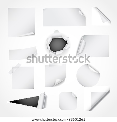 Paper design elements - curled and ripped paper, notes, stickers and corners - stock vector
