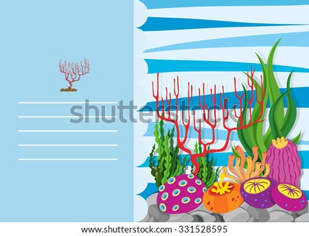 Paper design with coral reef illustration
