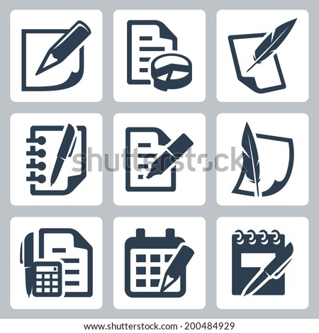 Paper document vector icons set - stock vector