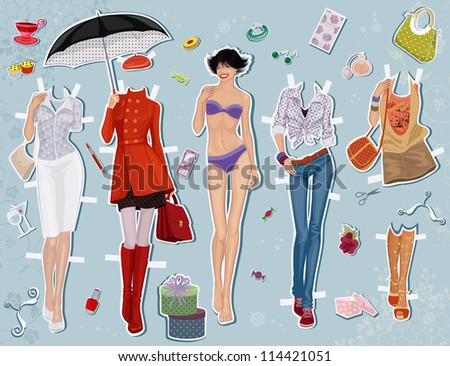Paper doll of a young beautiful girl and some clothes for her - stock vector