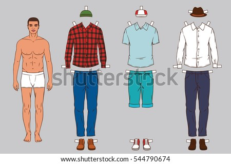 Paper Doll Man Different Outfits Clothes Stock Vector 544790674 ...