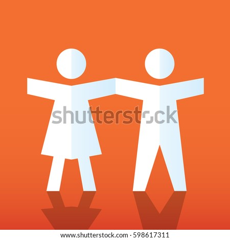 Paper doll stock images royalty free images vectors shutterstock paper doll people holding hands teamwork concept pronofoot35fo Images
