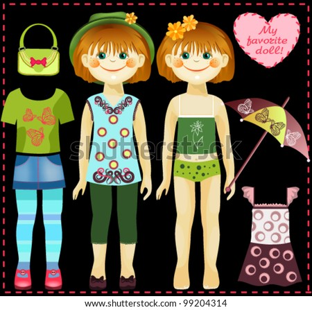 Paper doll with a set of clothes and accessories. All objects are grouped separately and can be used independently.