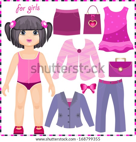 Paper doll with a set of elegant clothes. Cute fashion girl. Template for cutting. - stock vector
