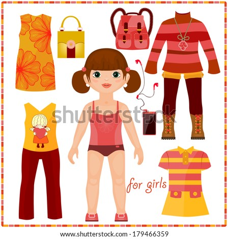 Paper doll with a set of fashion clothes. Cute girl. Template for cutting. - stock vector