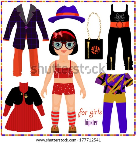Paper doll with a set of fashion clothes. Cute hipster girl. Template for cutting. - stock vector