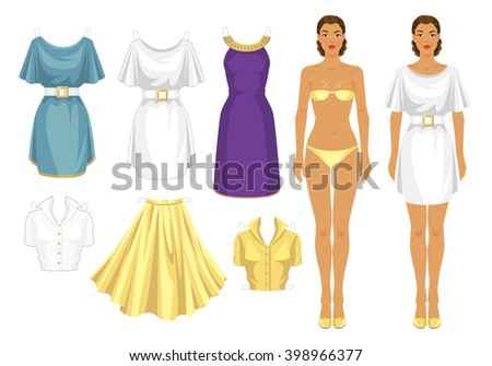 paper doll clothes holiday celebration template stock vector