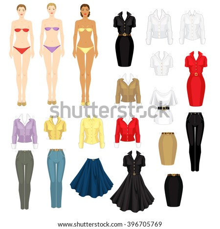 paper doll template woman - paper doll clothes stock images royalty free images