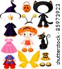 Paper Doll with three dresses for Halloween Party - stock vector