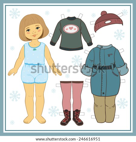 Paper doll with winter clothes - stock vector