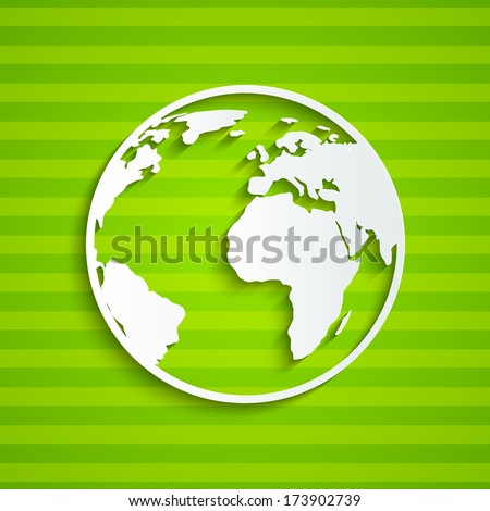 Paper Earth on green background - stock vector