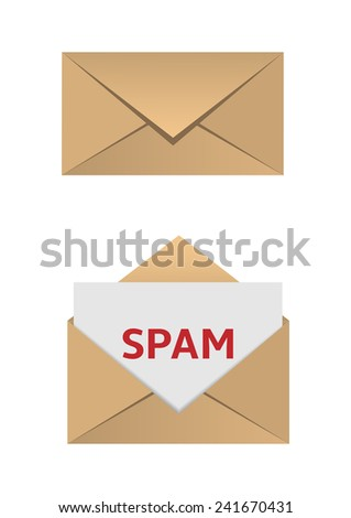 Paper Envelope with spam message. Vector illustration. - stock vector