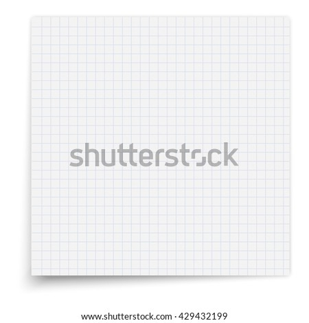Paper exercise book in a cell. Texture notebook sheet illustration.  - stock vector