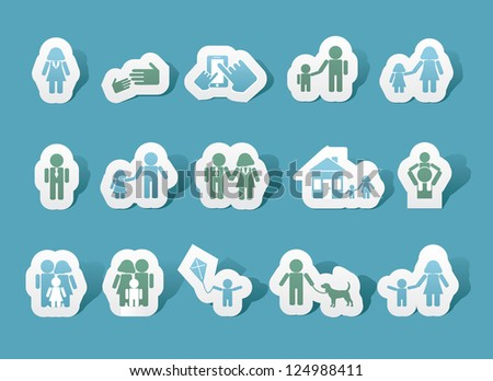 Paper Family Icons EPS 8 vector no open shapes or paths - stock vector