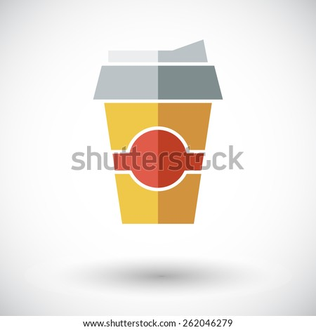 Paper fast food cup. Single flat icon on white background. Vector illustration. - stock vector