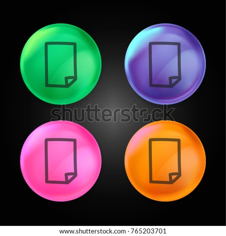 Paper file hand drawn symbol crystal ball design icon in green - blue - pink and orange.