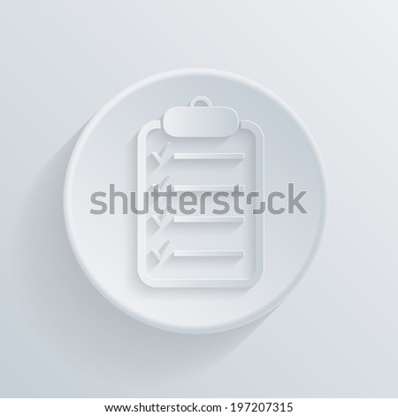 paper flat circle icon with a shadow, the sheet of paper on the tablet - stock vector