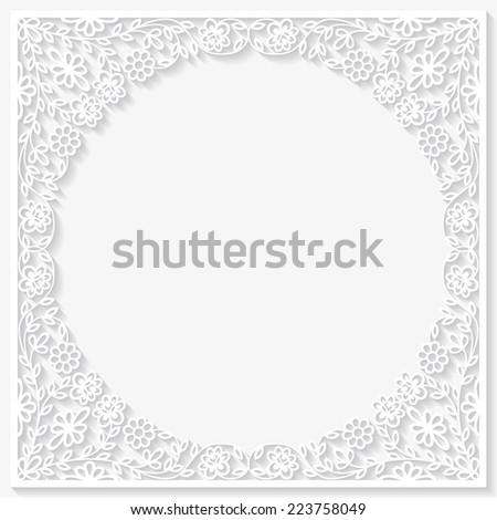Paper floral frame. Vector illustration  - stock vector