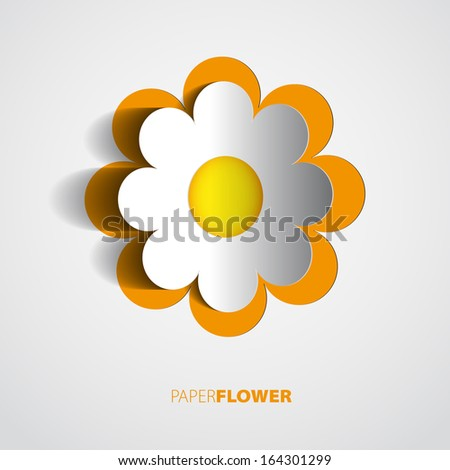 Paper flower design card cutout vector illustration - stock vector