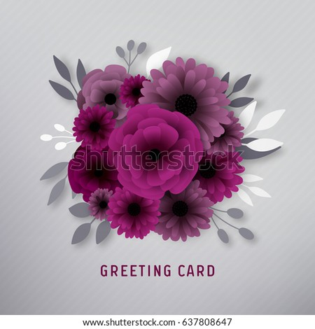 Paper flower greeting card stock vector 2018 637808647 shutterstock paper flower greeting card mightylinksfo
