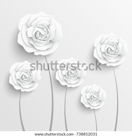 Paper flower paper rose white rose stock vector royalty free paper flower paper rose white rose roses cut from paper wedding decorations mightylinksfo