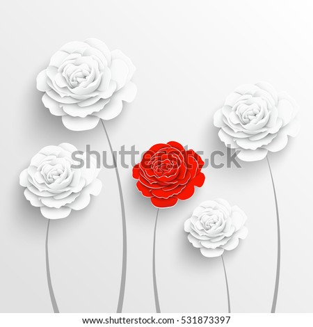 Paper flower rose cut out paper stok vektr 531873397 shutterstock paper flower rose cut out of paper white and red roses vector illustration mightylinksfo