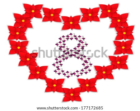 Paper flowers, heart shaped/8 March Flower - stock vector