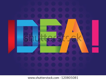 Paper Folding text with idea message. Vector illustration. - stock vector
