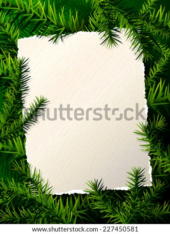 Paper for Christmas list against pine branches. Christmas template with Christmas tree twigs. Qualitative vector layout for new year's day, Christmas, winter holiday, new year's eve, Silvester, etc - stock vector