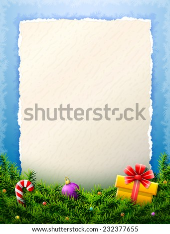 Paper for christmas list is behind pine branches. Christmas template with blank paper and christmas decoration. Vector illustration for new year's day, christmas, winter holiday, silvester, etc - stock vector
