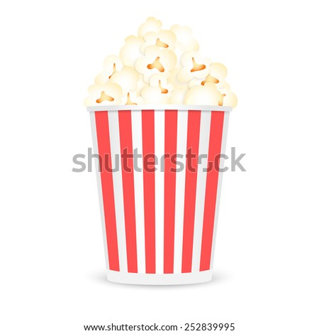 Paper full popcorn box, isolated on white background. Vector illustration.