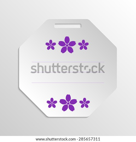 Paper gift badge template with paper violet flowers on gray scale background. Vector EPS 10 - stock vector