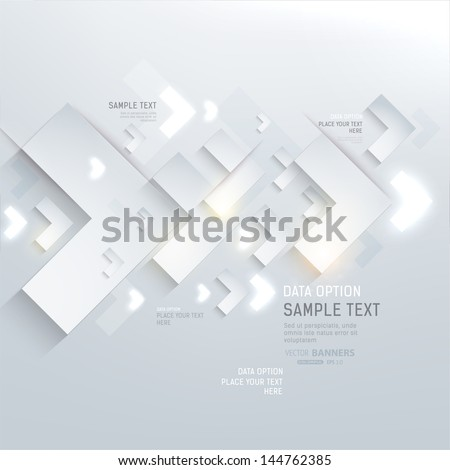 Paper graphics for abstract infographics design with paper and glow arrows. Vector eps10. - stock vector
