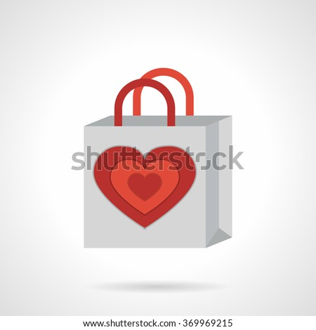 Paper gray bag with red heart. Valentines Day shopping. Romantic events and celebration. Vector icon flat color style with red. Element for web design, business, mobile app. - stock vector