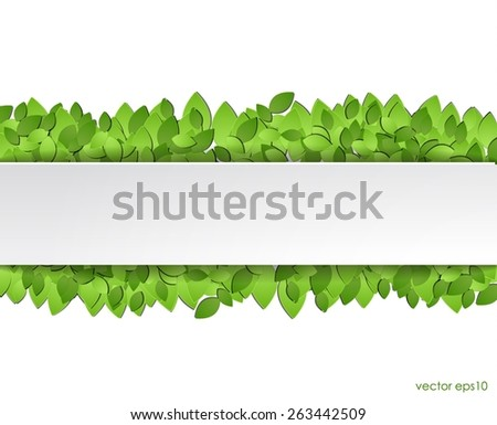 Paper green leaves with white  sticker. vector eps10. - stock vector