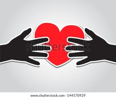 paper hand holding a red heart on a light background - stock vector