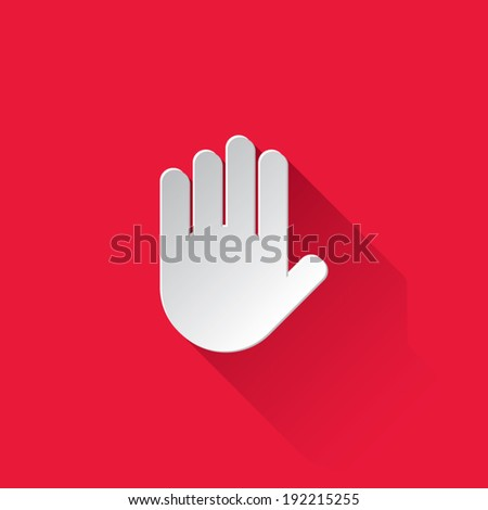 Paper Hand Icon With Shadow - stock vector