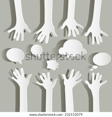 paper hands and bubbles speech - stock vector