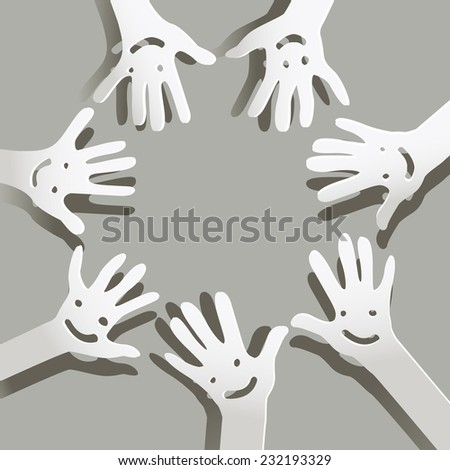 paper hands  with faces - stock vector