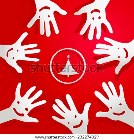 paper hands with faces and christmas tree - stock vector