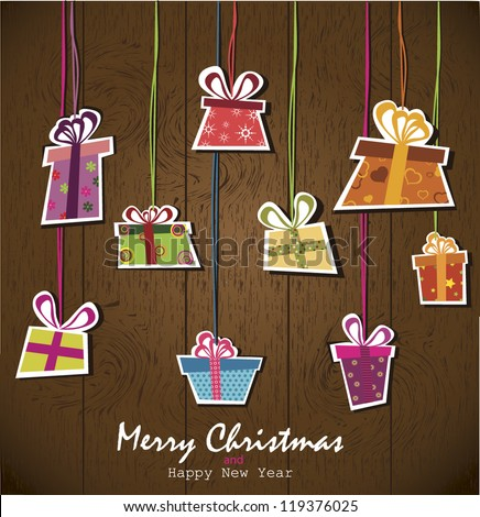 Paper hanging gift boxes. Vector Illustration. - stock vector